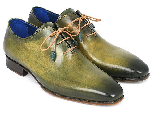 Paul Parkman Plain Toe Wholecut Oxfords Green Hanpainted Leather