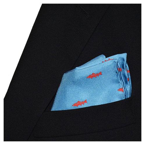 Trout Pocket Square - Light Blue