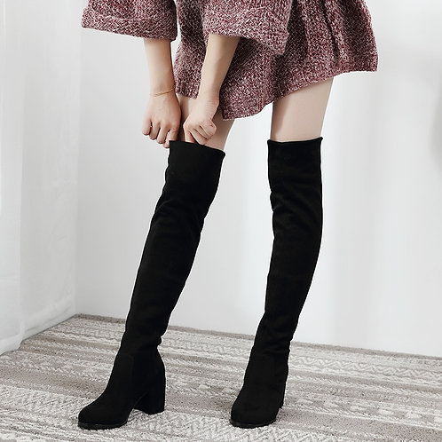 Sexy Slim Fit Elastic Flock Over the Knee Boots Women Shoes Autumn /Winter