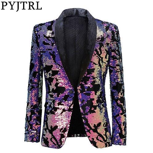 Fashion Purple Colorful Velvet Sequins Blazer