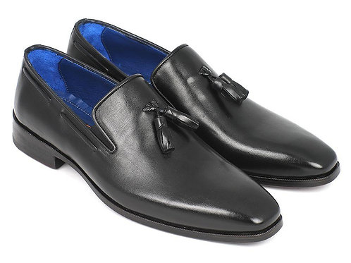 Paul Parkman Men's Tassel Loafer Black Leather Upper & Leather Sole