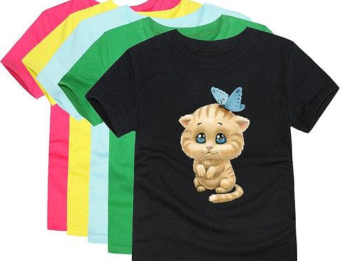 Boys Animal Cartoon T Shirts Kids Cat Cotton Short Sleeve Summer Tops Children