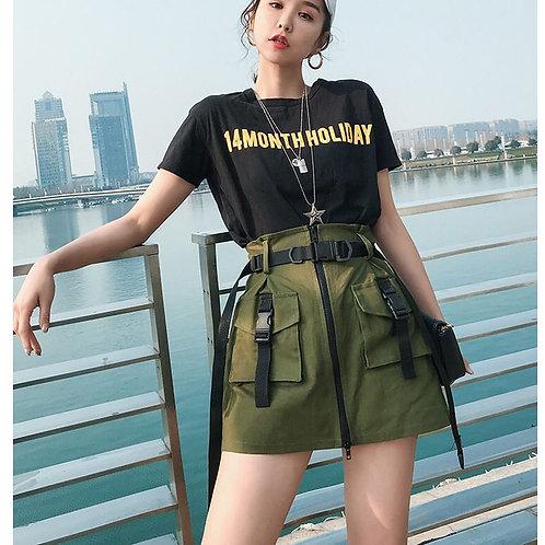 2020 Women's Black Skirts  Pocket Skirt Sashes Ladies Short Tool Skirt