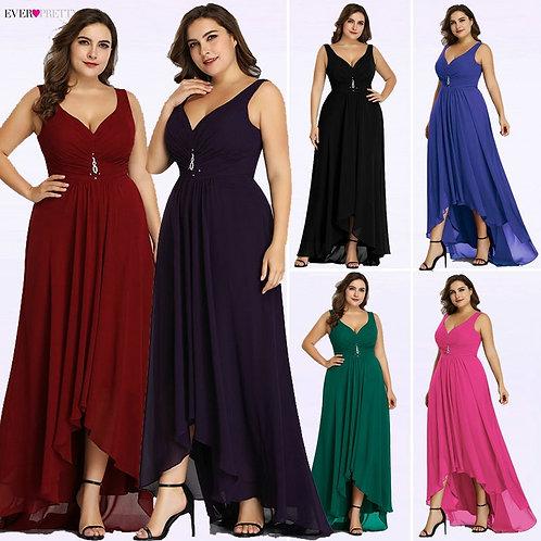 Plus Size Evening Dresses Long 2020 Elegant Burgundy A-Line Sleeveless