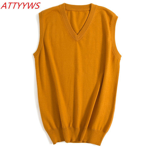 ATTYYWS 18 Autumn and Winter New Men's V-Neck Sleeveless Sweater Solid Color