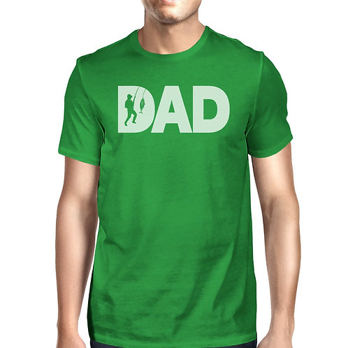 Dad Fish Mens Green Graphic Design Tee Unique Fishing Dad T Shirt