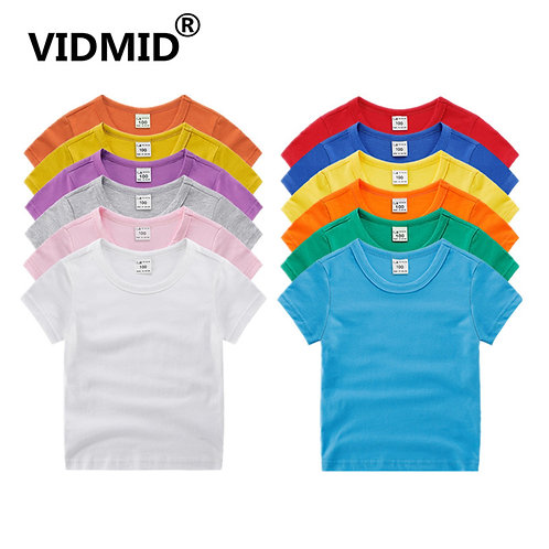 VIDMID Boys Girls Short Sleeve T-Shirts Clothes Kids Cotton Summer Tops