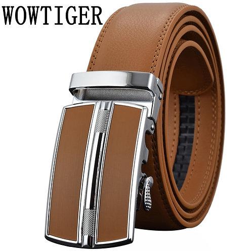 Men's Belts Luxury Automatic Buckle Genune Leather Strap Black Brown for Mens