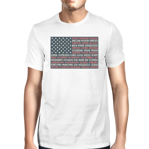 50 States US Flag American Flag Shirt Mens White Cotton Graphic Tee