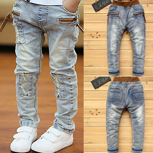 IENENS 5-13y Kids Boys Clothes Skinny Jeans Classic Pants Children Denim