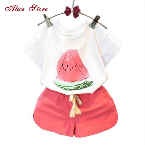 Alice Girls Clothing Sets 2018 New Summer Casual Style Watermelon Print Design