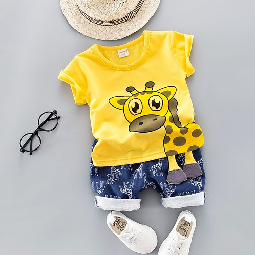 Summer Kids Baby Clothes Set for Boys Cut Cartoon Animal Infant Clothing Suit