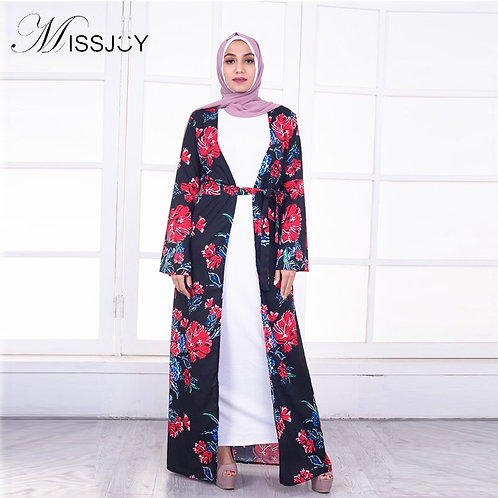 MISSJOY Fashion 2018 Long Sleeve Flower Abaya Cardigan Black Islamic Abaya