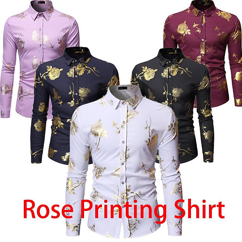 Mens Gold Rose Floral Print Shirts/ White Long Sleeve Wedding Party