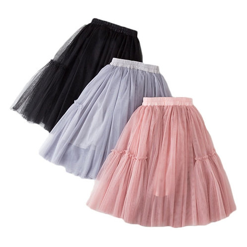 Skirts for Girls Cotton Lace Kids Tutu Skirt Solid Children's Skirt Ball Gown