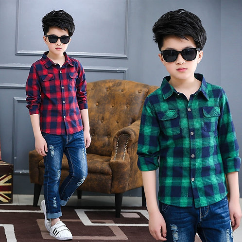 3-13 Years Teens Long Sleeve Plaid Shirt Boy Uniforms Children Teenage Tops Turn