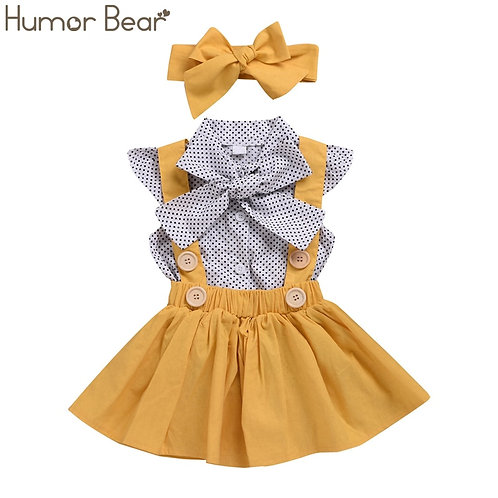 Humor Bear Baby Girls Clothes Sets 2019 Summer Dot Flying Sleeve Top+strap