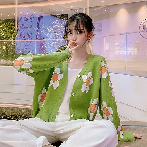 Women's Korean Style Floral Printing V-Neck Knitted Female Casual  Sweater