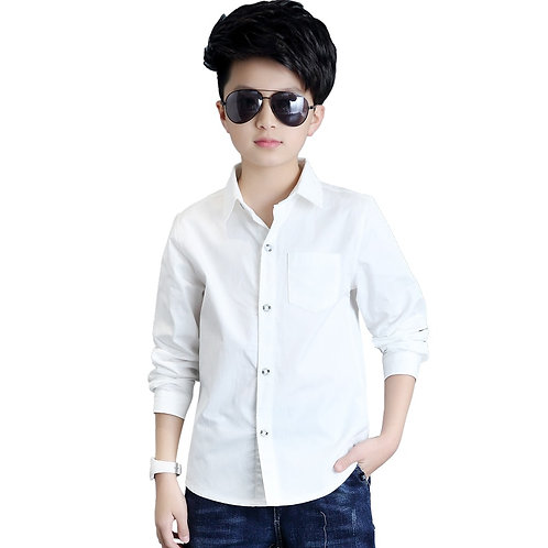 White Button Boys Shirts for School 2018 Full Sleeve Turn-Down Boys Blouses