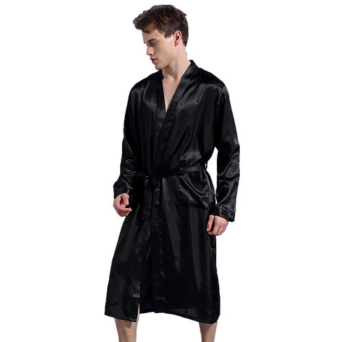 Black Long Sleeve Chinese Men Rayon Robes Gown New Male Kimono Bathrobe