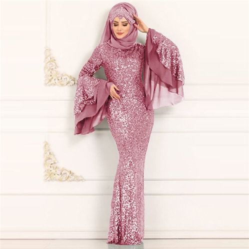 Sequin Muslim Islam Kaftan Abaya Maxi Long Dress Robe Dubai Style