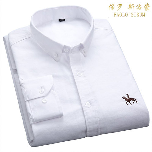 Casual Pure Cotton Oxford Men Shirt White Long Sleeve Embroidery Regular Fit