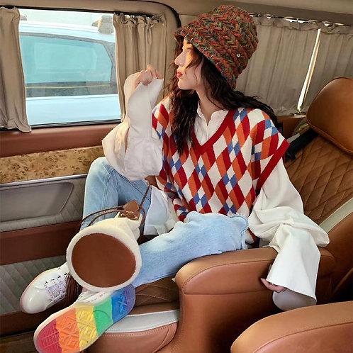 Women Sleeveless Pullover Spring 2020 Korean Style Preppy Knitted Sweater
