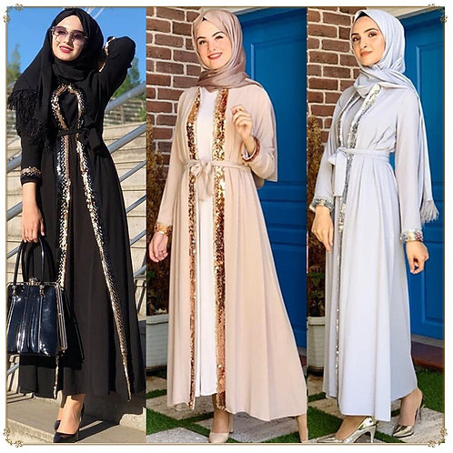 2020 Sequined Cardigan Style Beaded Robe Middle East Robe Muslim Clothes