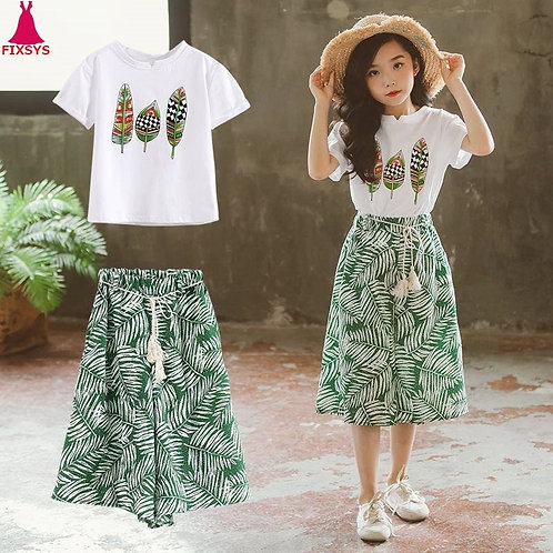 Summer 2020 Baby Girls Clothes Sets Outfits Kids Clothes Short Sleeve +Pants