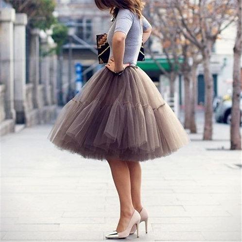 Petticoat 5 Layers 60cm Tutu Tulle Skirt Vintage Midi Pleated Skirts Womens