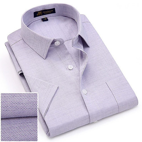 Summer Turndown Collar Short Sleeve Oxford Fabric Soft Men Smart Casual Shirts
