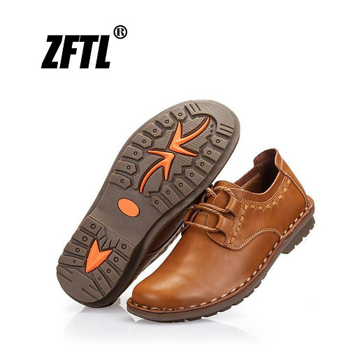 Genuine Leather Male Leisure Lace-Up Soft Leather Non-Slip