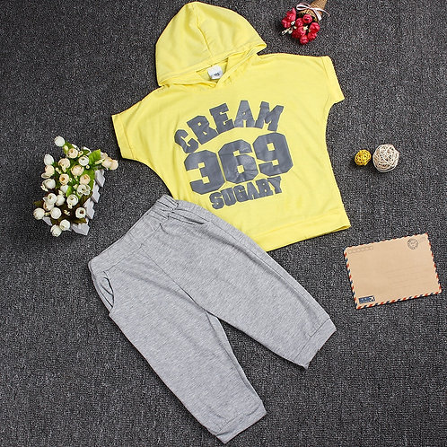 Hot New Summer Girls Boys Letter Print Children Clothing Set Baby Clothes