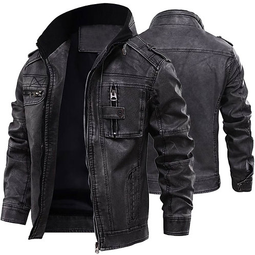 Leather Jackets Men Casual Outwear  Motorcycle Fitness Leather Jackets