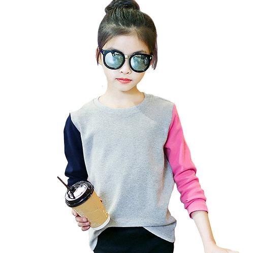 Girls T Shirts Kids Spring Summer Shirts for Girls Long Sleeve Patchwork Girls