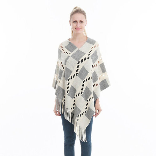 Women Hollow Out Sweater Knitted Tassel Shawl Poncho and Capes Ladies Sweaters