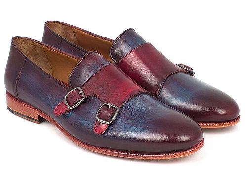 Paul Parkman Men's Bordeaux & Navy Double Monkstrap Shoes