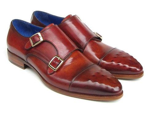 Paul Parkman Men's Double Monkstrap Burgundy Leather (ID#047-BUR)