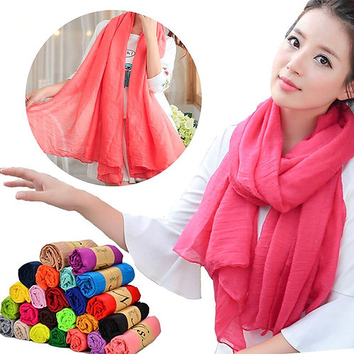 New Cotton Linen Scarf Vintage Shawl Candy Colors Solid Female Scarf Women Gift