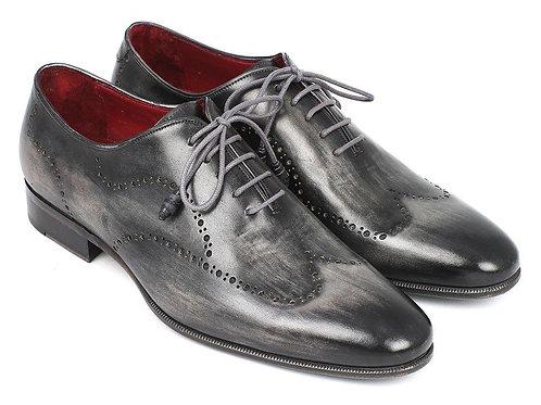 Paul Parkman Wintip Oxfords Gray & Black Handpainted Calfskin (ID#741-GRY)