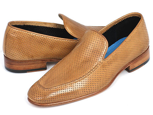 Paul Parkman Perforated Leather Loafers Beige