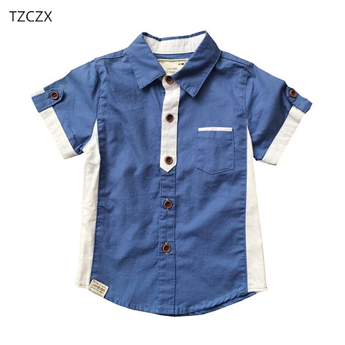 TZCZX Children Boys Shirts New Fashion Patchwork Color Woven Short Sleeved Shirt