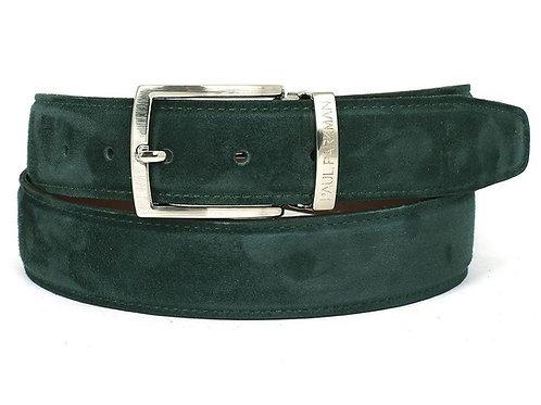PAUL PARKMAN Men's Green Suede Belt (ID#B06-GREEN)