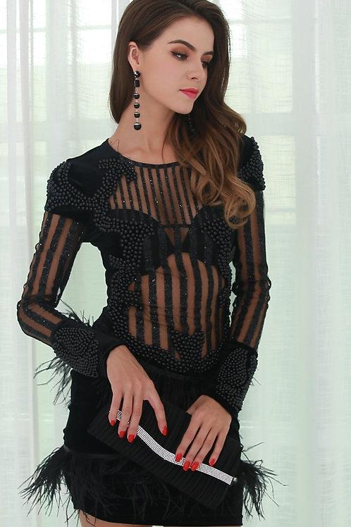 Black Beaded Tassel Dress