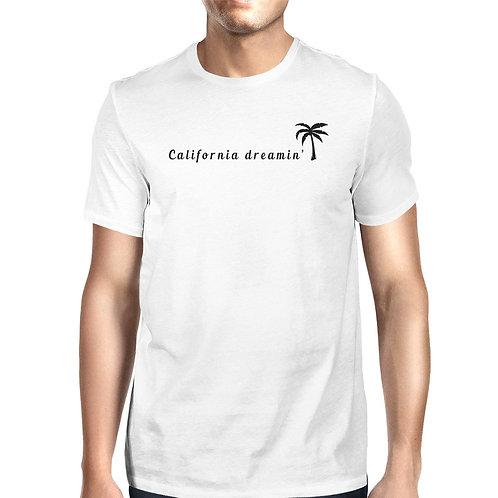 California Dreaming Mens White T-Shirt Lightweight Summer Shirt