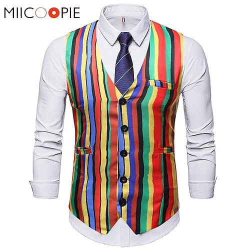 Fashion Colorful Stripe Suit Casual V-Neck Single Breasted Waist Coat for Men