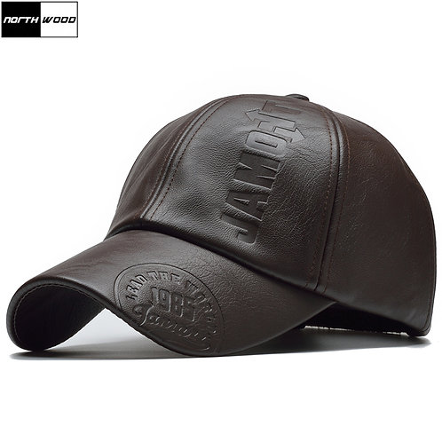 Leather Baseball Cap /Men Snapback Hat