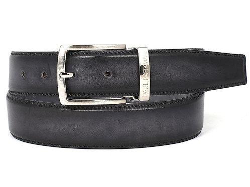 PAUL PARKMAN Men's Leather Belt Dual Tone Hand-Painted Gray & Black
