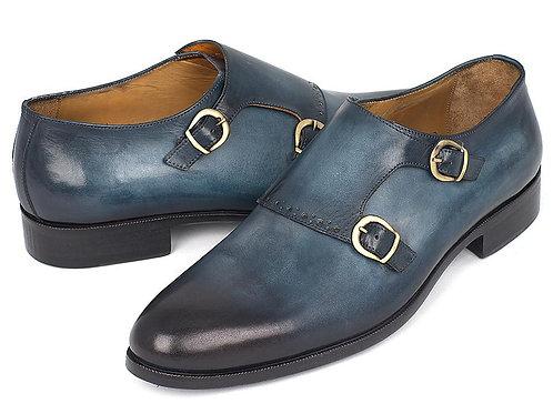 Paul Parkman Navy Double Monkstrap Shoes