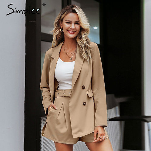 Simple Elegant Two-Pieces Women Short Suit Casual Streetwear Suits Female Blazer